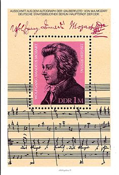 German Democratic Republic.  SOUVENIR SHEET.  WOLFGANG AMADEUS MOZART'S 225th BIRTH ANNIVERSARY.  Scott 2150 A648, Issued 1981 Jan 13, Litho., 1M. /ldb.