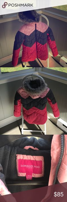 London Fog Girls 14/16 winter coat Beautiful gently used heathered grey and pink London Fog coat with faux fur lined hood! Charcoal and light pink liner- fleece body liner, nylon arms. Elastic wrist closure inside to keep snow out.  So warm! So pretty! London Fog Jackets & Coats Puffers