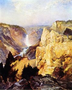 Grand Canyon of the Yellowstone by Thomas Moran. Art Reproduction on canvas of: Grand Canyon of the Yellowstone by Thomas Moran. We create a beautiful reproduction of famous art using Archival Inks and Museum Grade Archival Certified acid-free canvas. Landscape Drawings, Cool Landscapes, Landscape Art, Beautiful Landscapes, Landscape Paintings, Oil Paintings, Art Drawings, Thomas Moran, Art Thomas