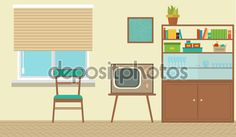 Interior of a living room with furniture, vintage room, retro ...