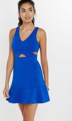 cut-out wrap ruffle hem fit and flare dress from EXPRESS