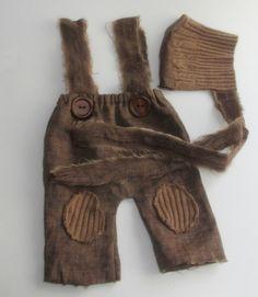 Baby boy photo prop set, suspender linen brown pants and bonnet, baby boy prop sets, newborn boy props on Etsy, $35.00
