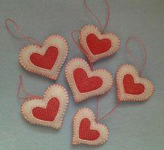 Handmade felt and burlap hearts set of 6