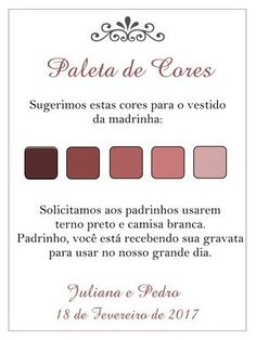 Paleta de cores padrinhos