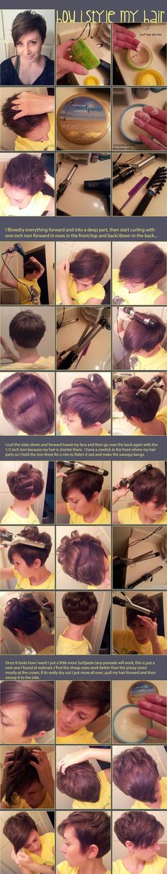 """9ab472943ee7c6fd9deff495c7770e43.jpg 600×3,141 pixels [   """"Great style advice for short Pixie haircut, plus I love the chestnut brown colour too."""",   """"Pixie styling for when my hair grows out a little more - The Beauty Look"""",   """"Pixie styling tips"""",   """"Pixie Cut Styling Tips. That seems like waaaaay too much effort for me"""",   """"Pixie cut, My everyday hair learning how to do"""",   """"Oh that"""