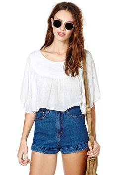 Float On Crop Top - White
