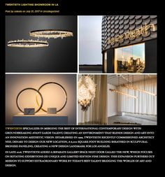 Blog Post: Twentieth Lighting Showroom in Los Angeles. To read more blogs go to: nicolesmithinteriors.com/nos-blog/ #july #twentieth #city #losangeles #shoutout #blogpost #blog #interior #deisgn #interiordesign #designinspiration #designercollection #contemprary #contemporarylighting #artwork #luxury