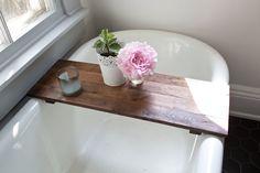 Rustic Wood Bathtub Tray - Walnut Bath Tub Caddy Wooden Bathtub Shelf Computer…