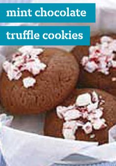 Mint Chocolate Truffle Cookies – Made with crushed candy canes, these Mint Chocolate Truffle Cookies would make a nice, pepperminty addition to your annual holiday cookie exchange.