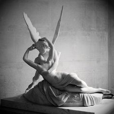 """Psyche Revived by Cupid's Kiss by Canova  """"Celestial Cupid, her famed son, advanced, Holds his dear Psyche sweet entranced, After her wandering labours long, Till free consent the gods among Make her his eternal bride; And from her fair unspotted side Two blissful twins are to be born, Youth and Joy; so Jove hath sworn.""""  Comus (1634), John Milton"""