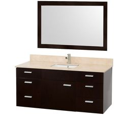 "Wall Mounted Bathroom Vanity Encore 52"" Wall Mounted Bathroom Vanity Espresso With Ivory Marble Top"