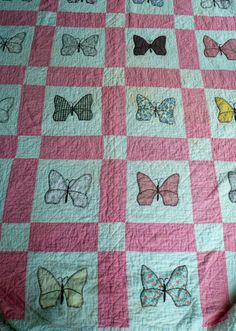 Vintage Butterfly Quilt Handmade Quilt by VintageReinvented