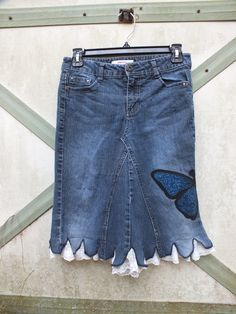 Jean Skirt, Girls size 14 upcycled Ready to Ship Sale. $25.00, via Etsy.