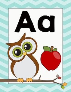 Owl Themed Classroom Decor Alphabet Posters