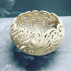 """quigley_ceramics, another wave bowl...this one is slightly smaller...maybe 9"""" across."""