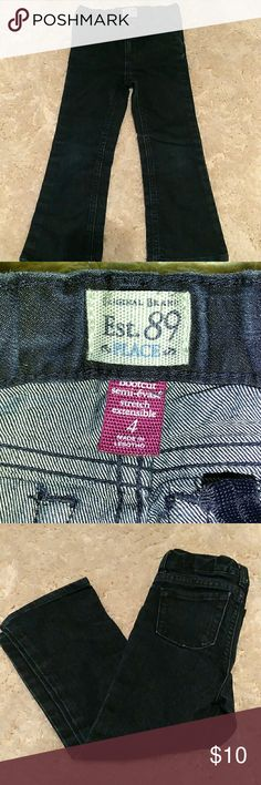 Dark Denim Jean Very dark wash denim boot cut Jean. These have a slight stretch very comfortable for a little girl Children's Place Bottoms Jeans