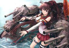 Anime Kantai Collection  Yamato (Kancolle) Anime School Uniform Weapon Gun Brown Hair Skirt Wallpaper