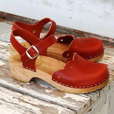 red. clogs. double-love.