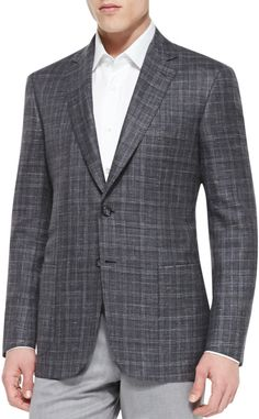 $4,295, Charcoal Plaid Blazer: Plaid Jacket With Contrast Deco Graypurple by Brioni. Sold by Neiman Marcus. Click for more info: http://lookastic.com/men/shop_items/163473/redirect