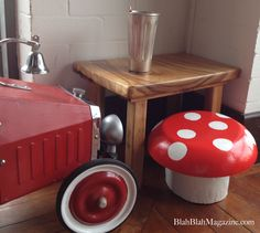 #DIY Toadstool | Whimseybox This easy to make toad stool is made using a log and an old wooden bowl. They keep the fairies and gnomes in our garden and house happy ; ) Enjoy!