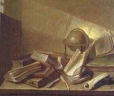 Jan Davidsz de Heem (1606-1684) – Nature morte avec livres et globe (1628)
