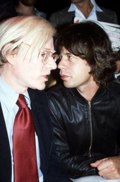 Andy Warhol with Mick Jagger by Bob Gruen