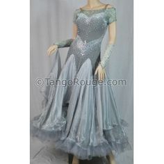 Share me and get 5% off coupon Mocha Gray Velvet Ballroom Waltz Dance Dress - M