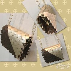 Recycled Plastic Bags, Recycled Art, Paper Chains, Candy Wrappers, Handmade Purses, Candy Bags, Paper Art, Purses And Bags, Weaving