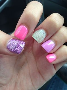The Gel Polish Manicure Ideas are so perfect for short nails Hope they can inspire you and read the article to get. Glam Nails, Pink Nails, Beauty Nails, Purple And Silver Nails, Purple Glitter, Love Nails, Pretty Nails, My Nails, Nails For Kids
