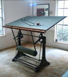Antique franz kuhlmann drafting table and machine rare texas wildfire