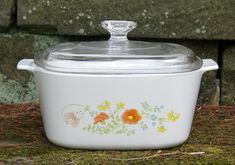 New with Tags Corning Ware Wildflower (3) Liter/Quart ~ A-3-B ~ Saucepan/Casserole with Pyrex Lid & Plastic Lid ~ Small Roastser ~ 1970s-80s by JingleBeanFarm on Etsy