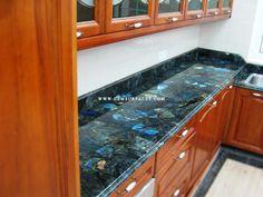 Gem Surfaces ® - Electric Midnight Labradorite Modern Kitchen - Gemstone Slabs, Gemstone Tables, Gemstone Tiles, Gemstone Surfaces