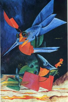 Max Ernst I like this because of its content colours of blue, red and orange and how it is made of shapes that don't quite fit together.