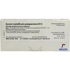 AURUM METALLICUM PRÄPARATUM D 15 Ampullen:   Packungsinhalt: 8 St Ampullen PZN: 01618860 Hersteller: WELEDA AG Preis: 12,49 EUR inkl. 19…
