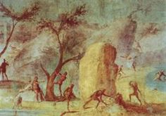"""Laestrygonians preparing for battle. The example shown here is particularly notable for the precision with which the human figures and animals are painted. Other frescoes from the series, such as """"Laestrygonians hurling rocks at Odysseus' fleet"""" or """"Odysseus escape"""" are spectacular seascapes in which the sense of depth is even greater. Taken together, the """"Landscapes of the Odyssey"""" are a masterpiece of Roman art and rank among the most important landscapes ever painted. G. Fernández…"""