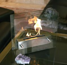 Modern in every sense of the word, the Irradia fireplace from Nu-Flame is an amazing fireplace. A brushed stainless steel burner floats between two tempered glass panels making the fire visible from every angle.