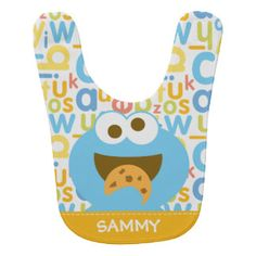 Baby Cookie Monster Eating   Add Your Name Bib