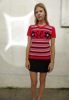 Stripe Monogram Sweater vintage 80s, sz. M by Fair Season on Wiseling  #uncommonwomenswear