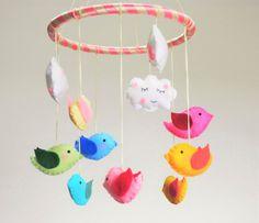 Baby Mobile Birds  Felt Baby Mobile Birds Baby Crib by LajjaDecor