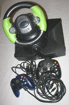 Original XBOX Console Controllers Cables Steering Wheel Black Microsoft Works
