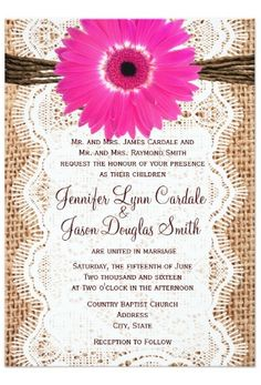 Rustic Country Printed Burlap and Lace Hot Pink Gerber Daisy Wedding Invitations with printed lace and twine bow design.  Cheap Discount Sale Prices are 40% OFF when you order 100+ Invites.  #wedding #countrywedding #weddinginvitations