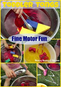 Toddler fine motor play-water and tongs