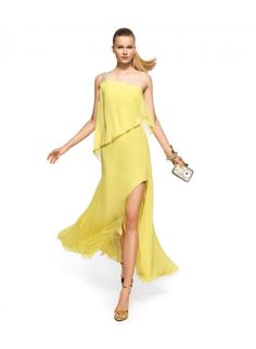 One Shoulder Side Slit Floor Length Chiffon Bridesmaid Dresses WE0104