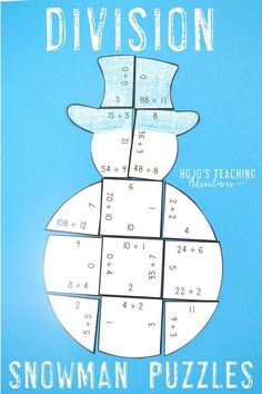 Turn the winter months into a fun time to review basic math facts skills with this great division review snowman. Use it in December, January, or anytime there's snow on the ground. It's a great coloring sheet or worksheet alternative, but it also works great for independent practice and is mostly self-checking. Click through to see how this can work in your 3rd, 4th, or 5th grade classroom or homeschool. (third, fourth, fifth graders, Year 3, 4, 5, home school, divide)