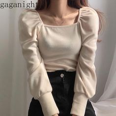 Gaganight Korean Chic Women T Shirt Pull Long Sleeves Square Collar Solid Fashion Tshirt Knitted Spring Autumn Solid Tops Korean Girl Fashion, Ulzzang Fashion, Style Fashion, Aesthetic Fashion, Aesthetic Clothes, Aesthetic Outfit, Cute Casual Outfits, Pretty Outfits, Mode Streetwear