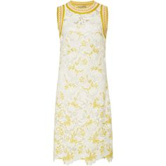 Embroidered Lace Shift Dress | Moda Operandi ($1,650) ❤ liked on Polyvore featuring dresses, floral dresses, floral mini dress, white scalloped dress, shift dress and lace shift dresses