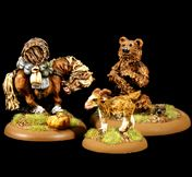 28mm Fantasy Beasts - Horses Goat Bear for Wargaming and Scenery