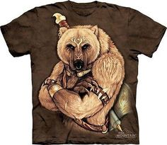 Tribal Bear Shirt Tie Dye Grizzly T-shirt Adult Tee Wildlife Shirts Animal T-Shirts Tee Available in Medium, Large, XL, & Officially Licensed