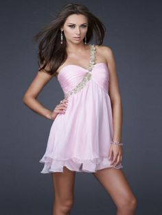 Empire One Shoulder Chiffon Short/Mini Sleeveless Pleats Prom Dresses at sweetquinceaneradress.com