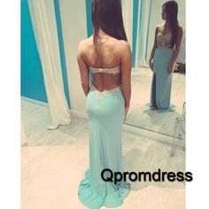 Beautiful backless blue chiffon prom dress for teens, long formal dress for prom 2016 #coniefox